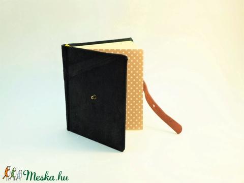 Klarissza - notesz, napló, emlékkönyv - fekete velúr bőr 16x16 cm - 307 - Meska.hu