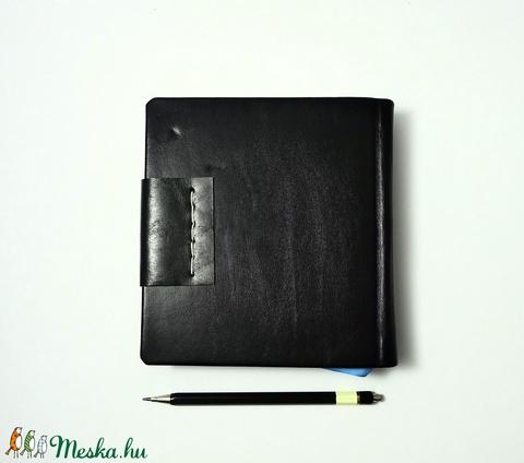 Lukács - notesz, napló, emlékkönyv - fekete bőr 16x16 cm  - 352 - Meska.hu