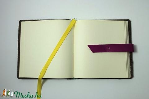 Stefánia - notesz, napló, emlékkönyv - barna velúr bőr 16x16 cm  - 355 - otthon & lakás - papír írószer - jegyzetfüzet & napló - Meska.hu