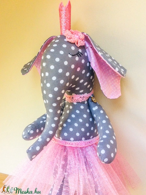 Pöttyös balerina elefánt - egyedi tervezésű kézműves gyerekjáték - textil játék (Pindiart) - Meska.hu