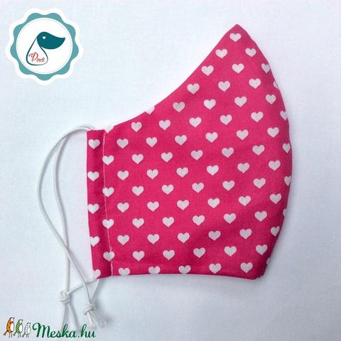 Egyedi szájmaszk -pinkszíves felnőtt női és teenager szájmaszk - textil szájmaszk - egészségügyi szájmaszk (Pindiart) - Meska.hu