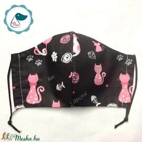 Egyedi cica mintás - felnőtt női és teenager szájmaszk - textil szájmaszk - egészségügyi szájmaszk (Pindiart) - Meska.hu