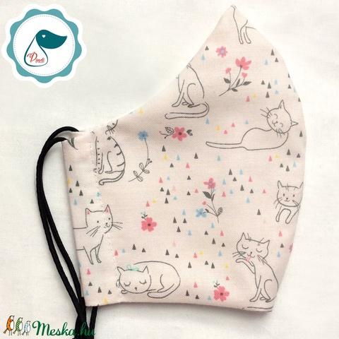 Egyedi szájmaszk - kiskamasz cicás szájmaszk - textil szájmaszk - egészségügyi szájmaszk - mosható szájmaszk (Pindiart) - Meska.hu