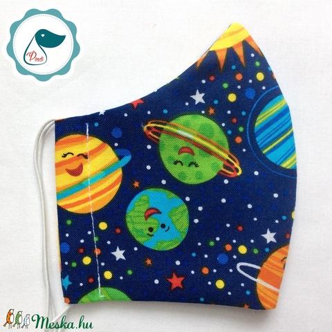 Egyedi bolygós maszk- gyerek arcmaszk - textil szájmaszk - egészségügyi szájmaszk - mosható szájmaszk - Meska.hu