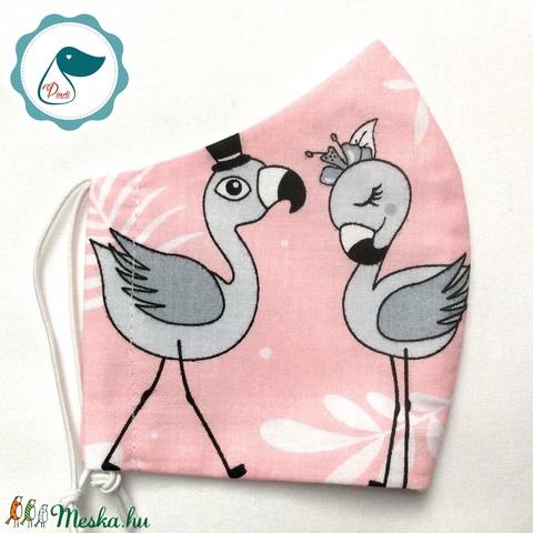 Egyedi szájmaszk - flamingós gyerek szájmaszk - textil szájmaszk - egészségügyi szájmaszk - mosható szájmaszk (Pindiart) - Meska.hu