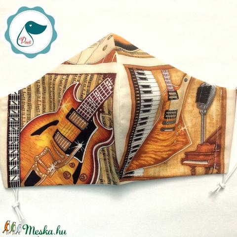 Egyedi szájmaszk - férfi gitáros mintás szájmaszk - textil szájmaszk - egészségügyi szájmaszk (Pindiart) - Meska.hu