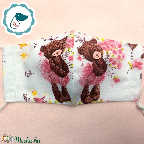 Egyedi szájmaszk -balerina macis gyerek szájmaszk - textil szájmaszk - egészségügyi szájmaszk - mosható szájmaszk (Pindiart) - Meska.hu