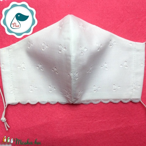 Egyedi szájmaszk -fehér madérás női szájmaszk - textil szájmaszk - egészségügyi szájmaszk (Pindiart) - Meska.hu