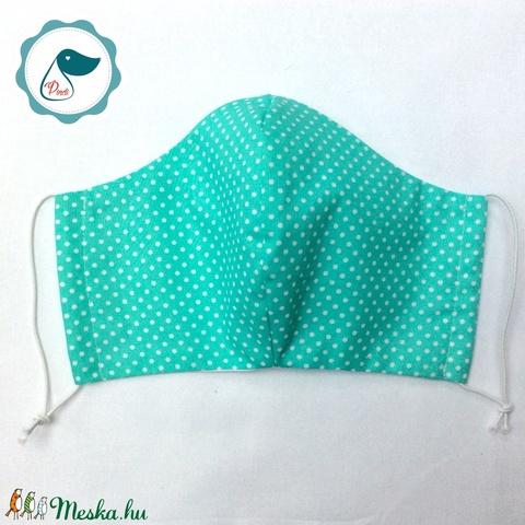 Egyedi  türkiz pöttyös maszk- férfi szájmaszk - textil szájmaszk - egészségügyi szájmaszk (Pindiart) - Meska.hu