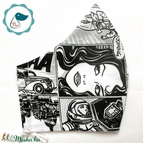 Egyedi arcmaszk - felnőtt  képregény mintás női és teenager maszk - textil szájmaszk - egészségügyi szájmaszk (Pindiart) - Meska.hu