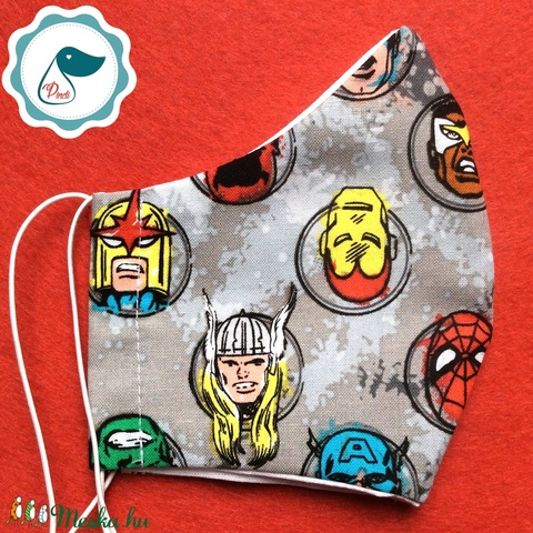Egyedi szájmaszk -szuperhősők - kiskamasz szájmaszk - textil szájmaszk - egészségügyi szájmaszk - mosható szájmaszk (Pindiart) - Meska.hu