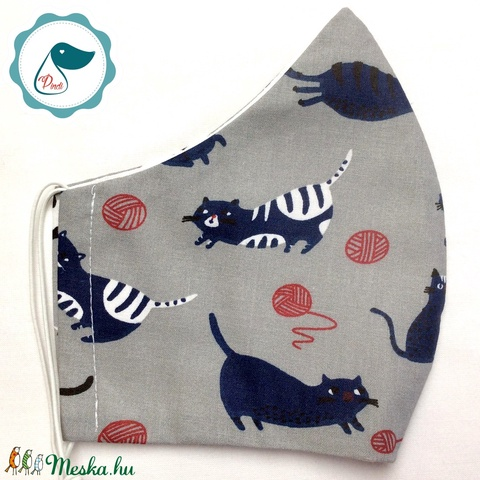 Maszk - egyedi szájmaszk - férfi cica mintás szájmaszk - textil szájmaszk - egészségügyi szájmaszk (Pindiart) - Meska.hu