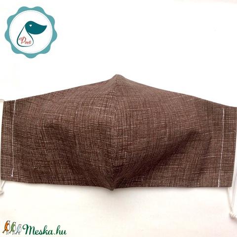 Egyedi barna lenhatású pamut maszk - férfi  arcmaszk - textil szájmaszk - egészségügyi szájmaszk (Pindiart) - Meska.hu