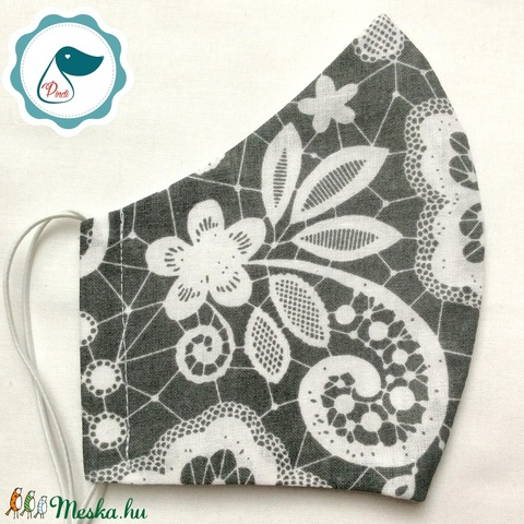 Egyedi csipke hatású pamut - felnőtt női és teenager szájmaszk - textil szájmaszk - egészségügyi szájmaszk (Pindiart) - Meska.hu