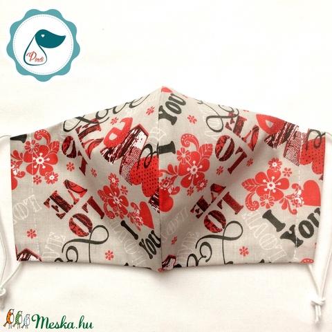 Egyedi szíves maszk - kiskamasz arcmaszk - textil szájmaszk - egészségügyi szájmaszk - mosható szájmaszk - Meska.hu
