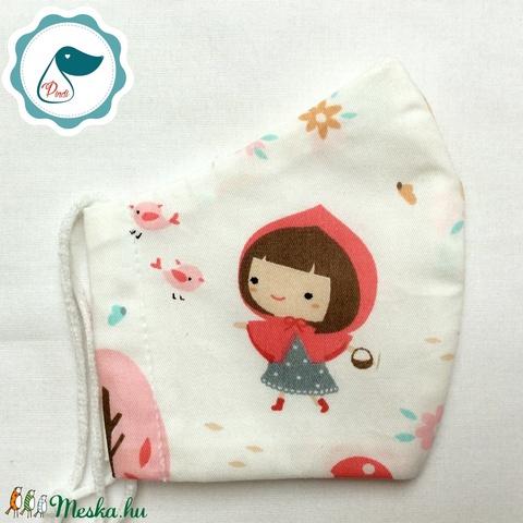 Egyedi piroska és a farkas mintás -  gyerek szájmaszk - textil szájmaszk - egészségügyi szájmaszk - mosható szájmaszk (Pindiart) - Meska.hu