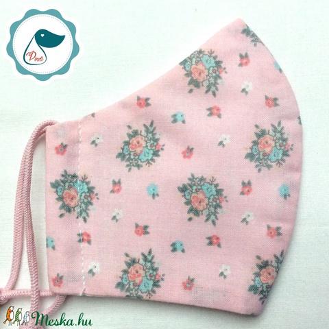 Egyedi rózsasín vintage csokor mintás -  gyerek szájmaszk - textil szájmaszk  - mosható szájmaszk (Pindiart) - Meska.hu