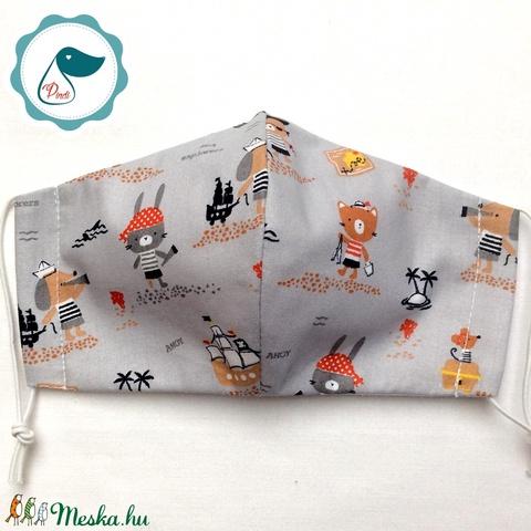 Egyedi tengerész kutya,nyuszi,maci mintás -  gyerek szájmaszk - textil szájmaszk  - mosható szájmaszk (Pindiart) - Meska.hu