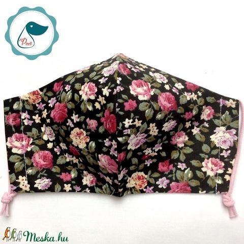 Egyedi  rózsa mintás arcmaszk - felnőtt női és teenager maszk - textil szájmaszk - egészségügyi szájmaszk - maszk, arcmaszk - női - Meska.hu