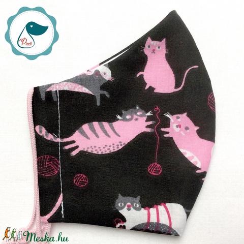Egyedi cica mintás - kiskamasz szájmaszk - textil szájmaszk - egészségügyi szájmaszk - mosható szájmaszk (Pindiart) - Meska.hu