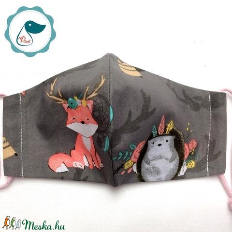 Egyedi róka mintás -  gyerek szájmaszk - textil szájmaszk  - mosható szájmaszk (Pindiart) - Meska.hu