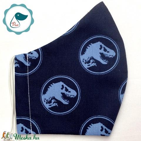 Egyedi kék jorassik world mintás szájmaszk - férfi  szájmaszk - textil szájmaszk - egészségügyi szájmaszk (Pindiart) - Meska.hu