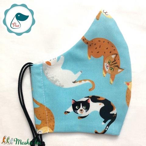 Egyedi cica mintás női és teenager szájmaszk - textil szájmaszk - egészségügyi szájmaszk (Pindiart) - Meska.hu
