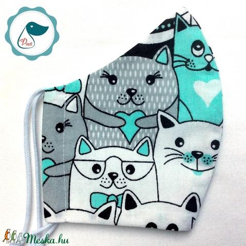 Egyedi cica mintás - kiskamasz szájmaszk - textil szájmaszk - egészségügyi szájmaszk - mosható szájmaszk - Meska.hu