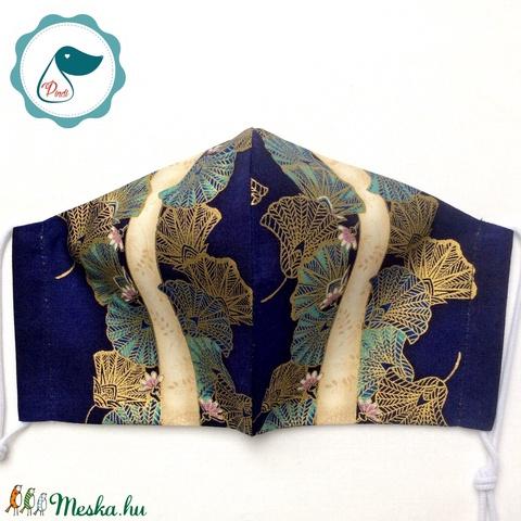 Egyedi exluziv arany,mintás textil - felnőtt női és teenager - textil szájmaszk - egészségügyi szájmaszk (Pindiart) - Meska.hu