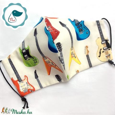 Arcmaszk gitár mintás  maszk - felnőtt női és teenager - textil maszk - egészségügyi szájmaszk (Pindiart) - Meska.hu