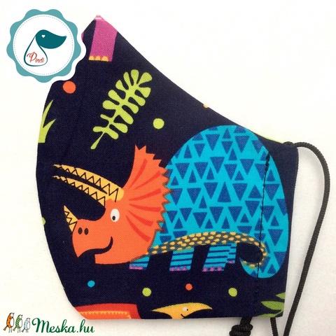Egyedi dinoszaurusz mintás arcmaszk - kiskamasz - textil maszk - egészségügyi szájmaszk - mosható szájmaszk (Pindiart) - Meska.hu