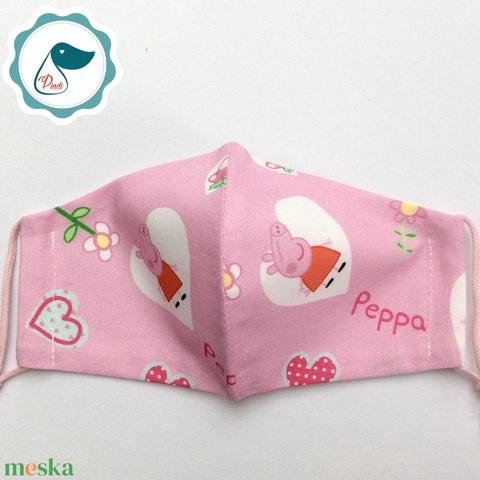 Egyedi peppa malac maszk- gyerek arcmaszk - textil szájmaszk - egészségügyi szájmaszk - mosható szájmaszk (Pindiart) - Meska.hu