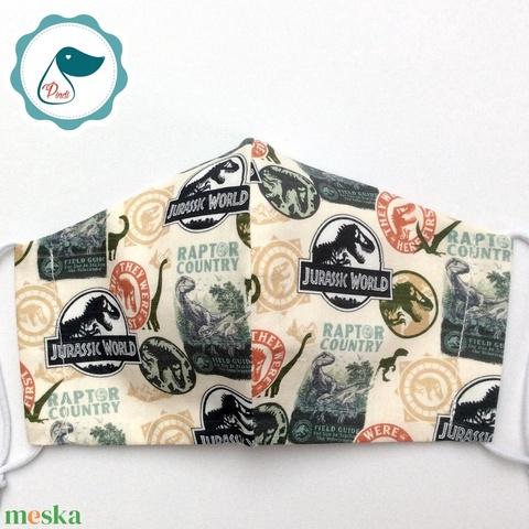 Egyedi Jurassic world mintás - kiskamasz arcmaszk - Dinós textil szájmaszk - egészségügyi szájmaszk - mosható szájmaszk - Meska.hu