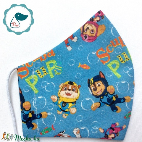Egyedi mancsórjáratos maszk- gyerek  arcmaszk - textil szájmaszk - egészségügyi szájmaszk - mosható szájmaszk (Pindiart) - Meska.hu