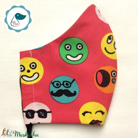 Egyedi smile mintás  maszk - felnőtt női és teenager arcmaszk - textil szájmaszk - egészségügyi szájmaszk - Meska.hu