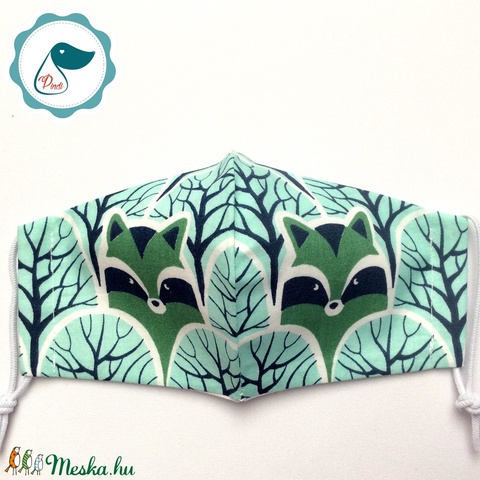 Egyedi mosómedve az erdőben maszk- gyerek  arcmaszk - textil szájmaszk - egészségügyi szájmaszk - mosható szájmaszk (Pindiart) - Meska.hu