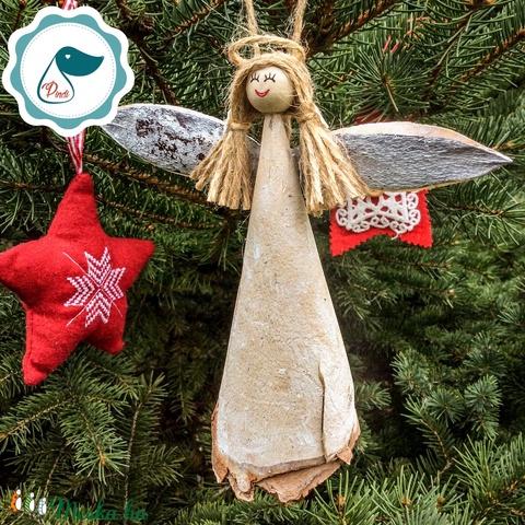 Egyedi karácsonyi  forgács angyalka dísz - karácsonyi dekorácíó angyalka - karácsonyfa dísz (Pindiart) - Meska.hu