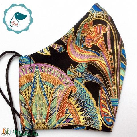 Egyedi exluziv arany,mintás maszk - textil arcmaszk - felnőtt női és teenager maszk - egészségügyi szájmaszk (Pindiart) - Meska.hu