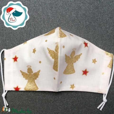 Egyedi karácsonyi arany mintás maszk - felnőtt női és teenager arcmaszk - textil szájmaszk - egészségügyi szájmaszk (Pindiart) - Meska.hu