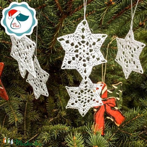 Egyedi horgolt hópihe,csillag-  karácsonyfa dísz - karácsonyi ajándék - Ablak dísz (Pindiart) - Meska.hu