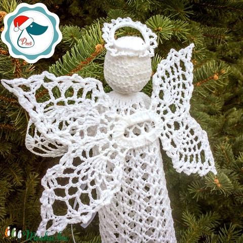 Egyedi nagy horgolt angyalka- Karácsonyi asztal dísz - karácsonyi dekorácíó- karácsonyi ajándék  (Pindiart) - Meska.hu