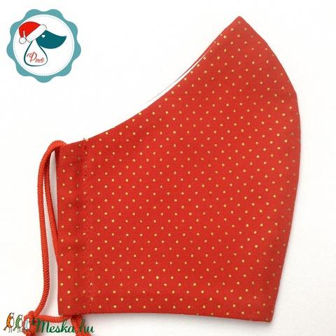 Egyedi karácsonyi arany tű pöttyös maszk - felnőtt női és teenager arcmaszk - textil szájmaszk - egészségügyi szájmaszk (Pindiart) - Meska.hu