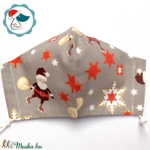 Egyedi karácsonyi télapos arany mintás maszk - felnőtt női és teenager arcmaszk - textil szájmaszk - egészségügyi maszk (Pindiart) - Meska.hu