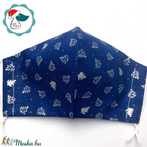 Egyedi karácsonyi kék,ezüst mintás maszk - felnőtt női és teenager arcmaszk - textil szájmaszk - egészségügyi maszk (Pindiart) - Meska.hu