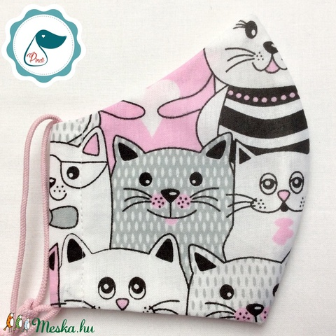 Egyedi cicás maszk- kiskamasz arcmaszk - textil szájmaszk - egészségügyi szájmaszk - mosható szájmaszk (Pindiart) - Meska.hu
