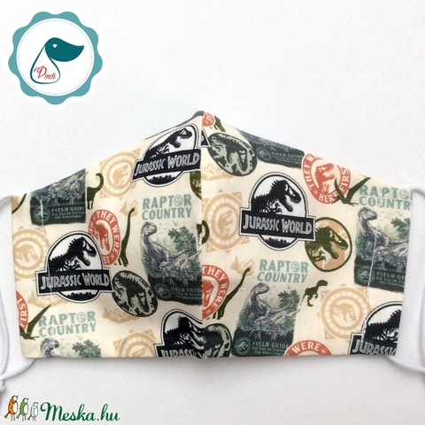 Egyedi Jurassic world mintás maszk - kiskamasz - textil arcmaszk - egészségügyi szájmaszk - mosható szájmaszk - Meska.hu
