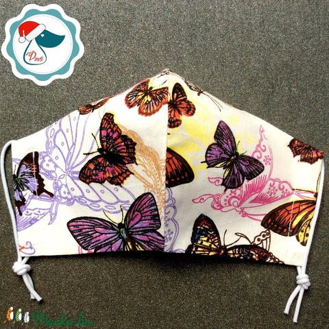 Egyedi pillangó mintás arcmaszk - felnőtt női és teenager maszk - textil szájmaszk - egészségügyi szájmaszk - Meska.hu