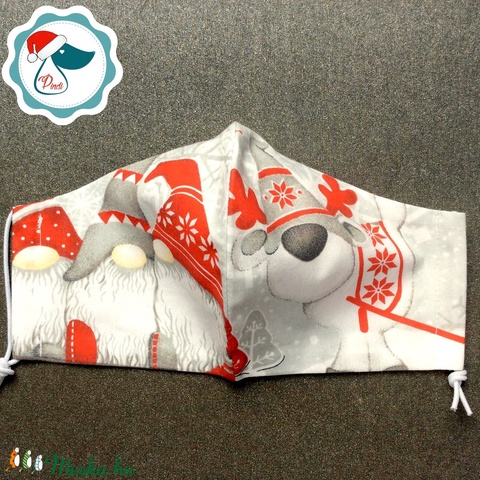 Karácsonyi manó mintás arcmaszk - férfi maszk - textil szájmaszk - egészségügyi szájmaszk (Pindiart) - Meska.hu