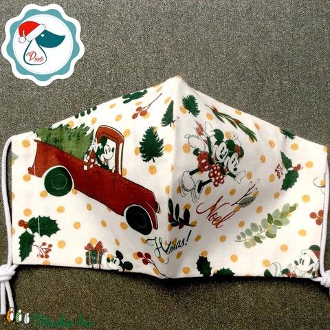 Karácsonyi -  Mikiegér mintás maszk - kiskamasz - textil arcmaszk - egészségügyi szájmaszk - mosható szájmaszk (Pindiart) - Meska.hu