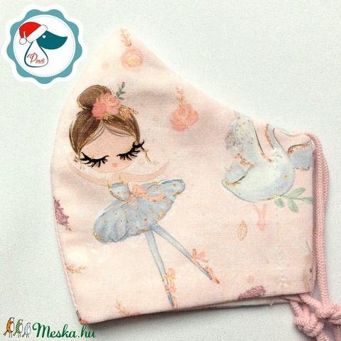 Egyedi ballerinakislány mintás maszk - gyerek textil arcmaszk - egészségügyi szájmaszk - mosható szájmaszk - Meska.hu